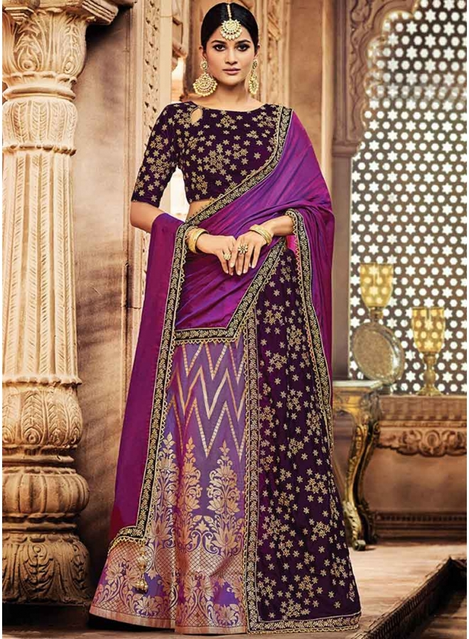 Puprle Embroidery Zari Work Jacquard Silk Designer Wedding Lehenga Choli
